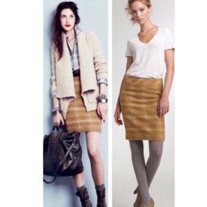 J. Crew Sunnie Golden Wool Plaid No 2 Pencil Skirt